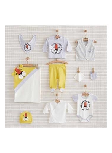 Nenny Baby Nenny Baby Nb152 Aslan Desenli Erkek Bebek Happy Lion 10' lu Hastane Çıkış Seti Gri